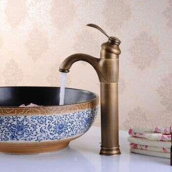 Mitigeur de vasque et lavabo en laiton finition bronze antique