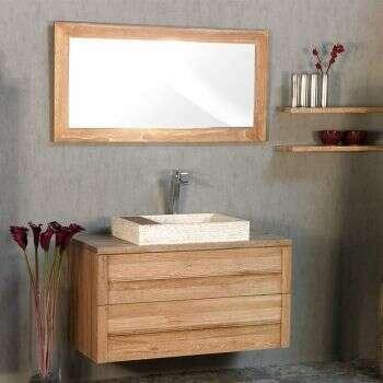 Miroir 80 cm en teck blanchi