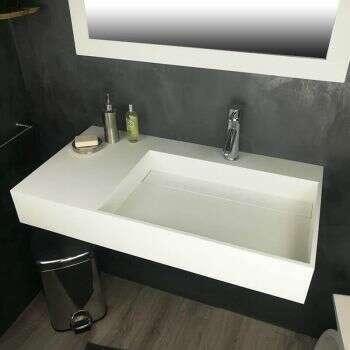 Vasque 90 cm suspendue ou à poser, en Solid surface - Fabiola G