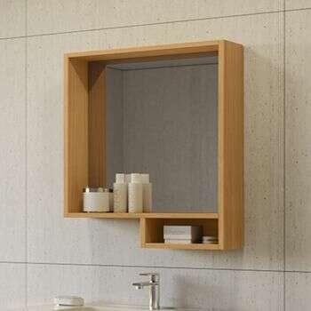 Miroir avec étagère 60 cm Aspect Teck - Lago