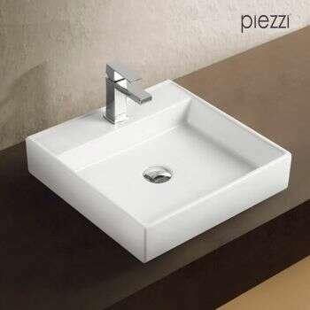 Piezzi - Vasque carrée en céramique blanche 44 cm