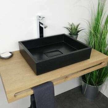 Vasque à poser en Pierre de Synthèse et Gel Coat sanitaire - Tessa noir