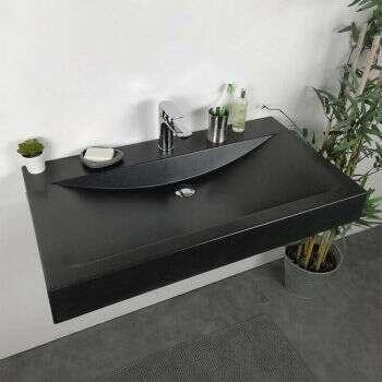 Vasque à poser rectangulaire 88 cm Noir en Pierre de synthèse - Eva