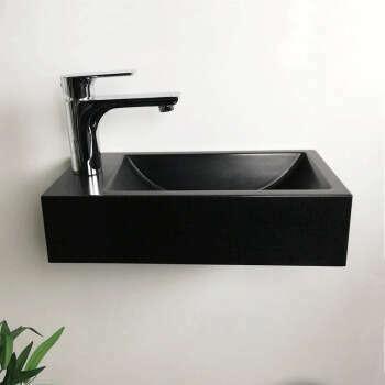 Lave-mains suspendu 40 cm Noir en Pierre de synthèse - Telma G