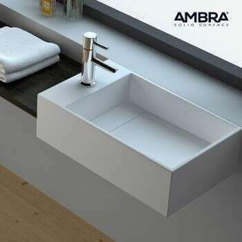 Ambra - Vasque 50 cm en Solid surface à poser ou à suspendre
