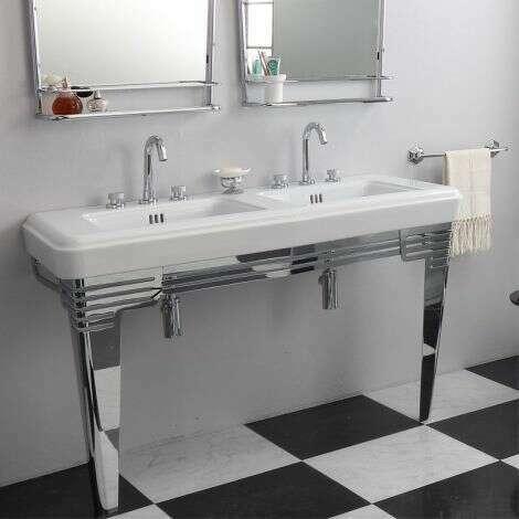 Lavabo rétro en céramique 130 cm - Fifties