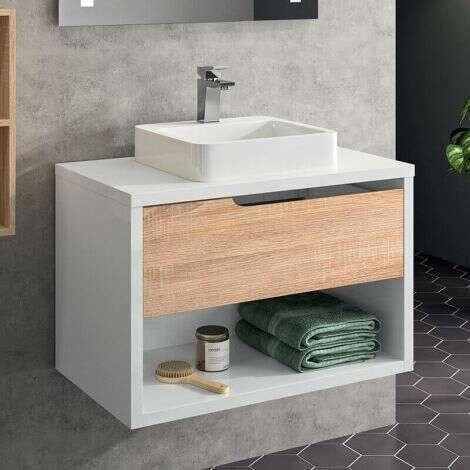 Meuble sous vasque à suspendre 80 cm Chêne Clair et laqué - 1 tiroir, 1 niche - Beop+