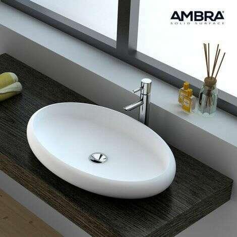 Vasque à poser ovale 60x40 cm en Solid surface - Bella - Ambra
