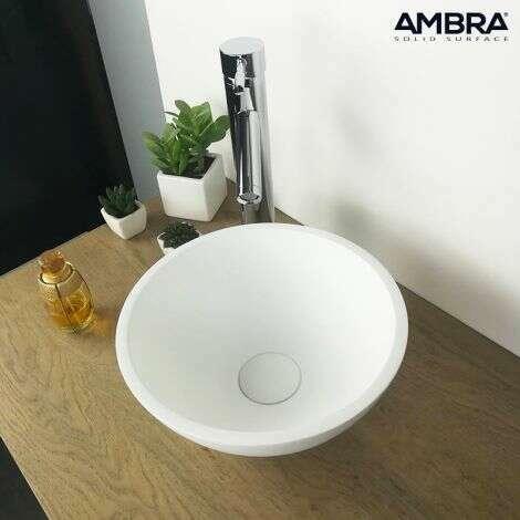 Vasque à poser ronde 30 cm en Solid surface - Boléa
