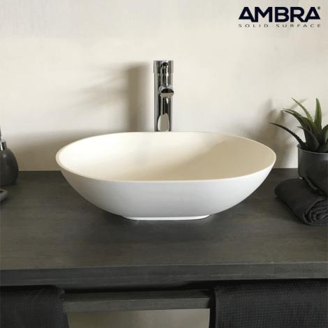 Vasque à poser ovale 47 cm en Solid surface - Bora