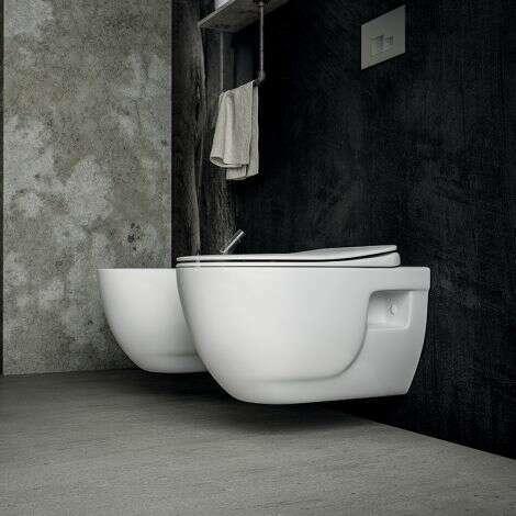 Cuvette WC suspendue 53 cm sans bride en céramique - Brilla