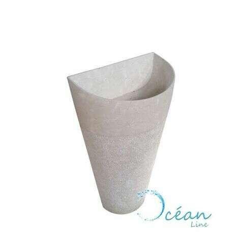 Vasque sur pied semi circulaire en marbre crème Carla