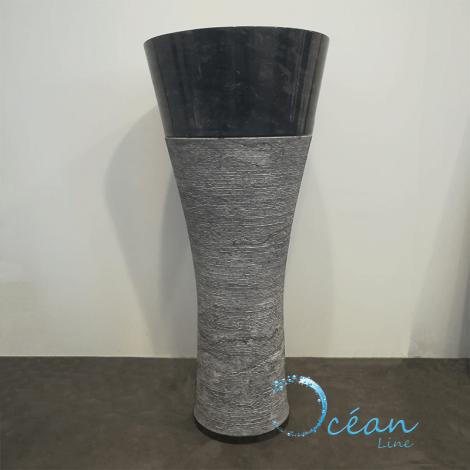 Vasque sur pied en marbre noir - Clara