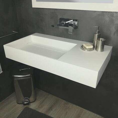 Vasque 90 cm suspendue ou à poser, en Solid surface - Fabiola II