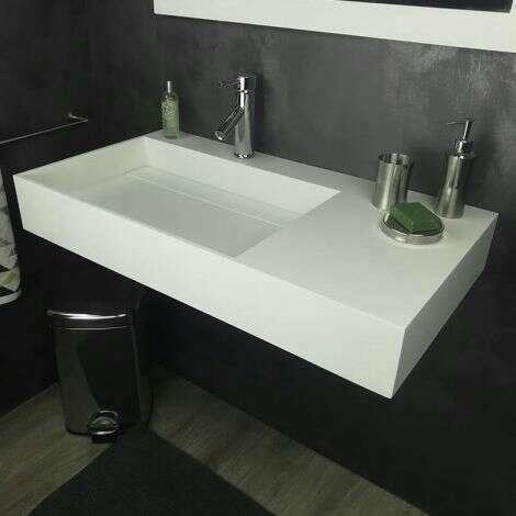 Vasque 90 cm suspendue ou à poser, en Solid surface - Fabiola