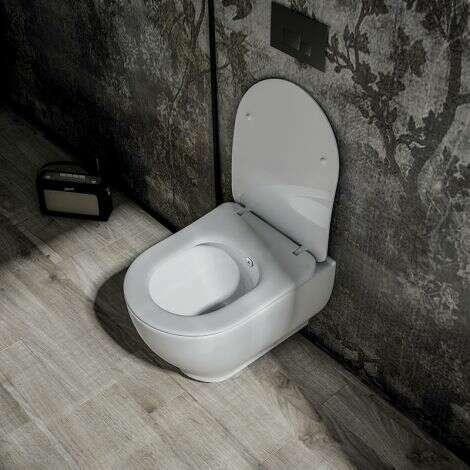 Cuvette WC suspendue 52 cm sans bride en céramique - Garcia
