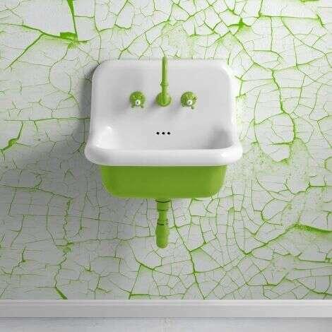 Lavabo à suspendre en céramique vert