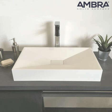 Vasque à poser rectangulaire en Solid surface - Jade