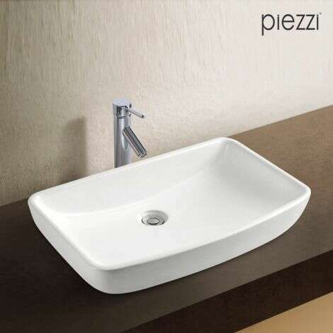 Vasque rectangulaire en céramique blanche - Adela