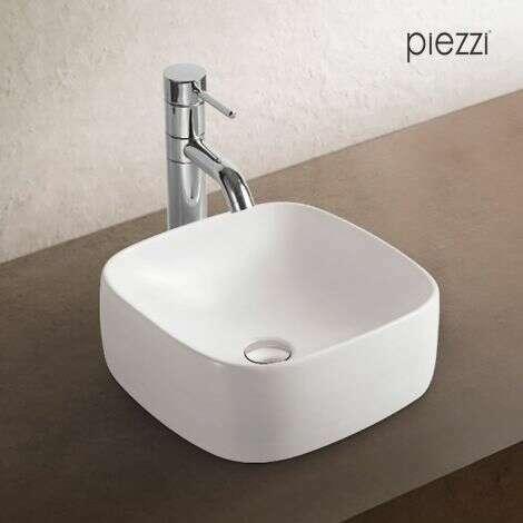 Vasque carrée en céramique blanche - Xela