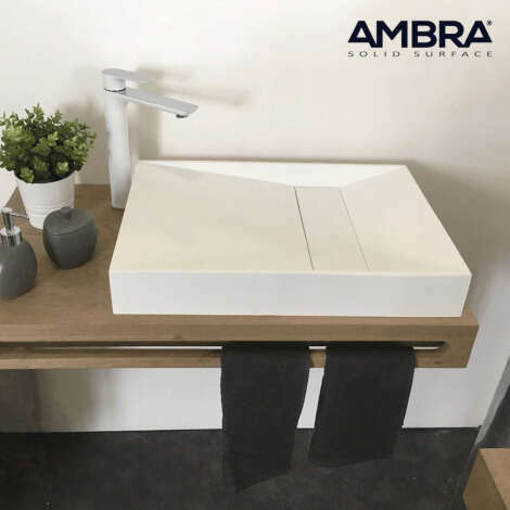 Vasque rectangulaire 60 cm en Solid surface - Kera