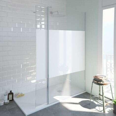 Paroi de douche fixe SINGLE sérigraphié en verre 8 mm