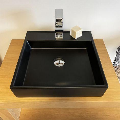 Vasque carrée en céramique Noire Mat 45 cm - Piazza