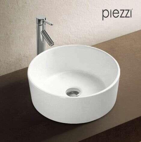 Vasque ronde 40 cm en céramique blanche - Corya
