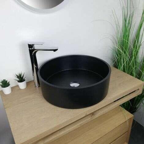 Vasque à poser noire 46,5 cm en Pierre de synthèse - Diana
