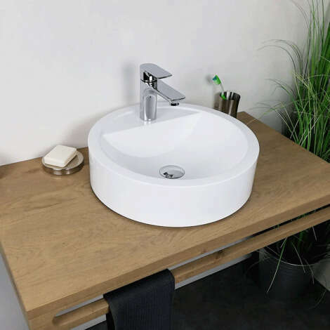 Vasque à poser ronde 43 cm en Pierre de synthèse Mat - Elma