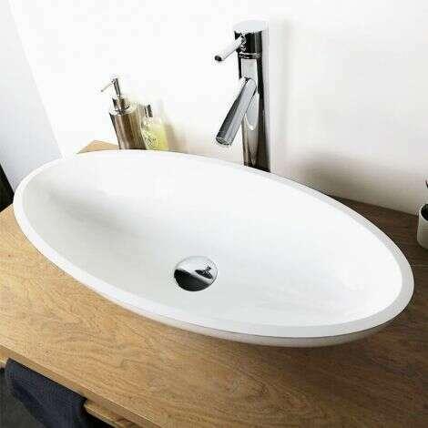 Vasque à poser ovale 60 cm en Pierre de synthèse - Enora