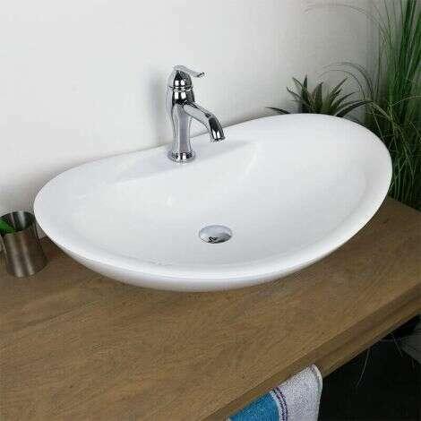 Vasque à poser ovale 65 cm en Pierre de synthèse - Romane