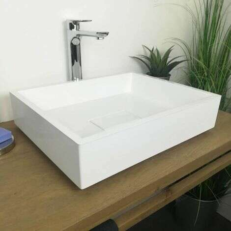 Vasque à poser rectangulaire 50 cm en Pierre de synthèse Blanc Mat - Tessa