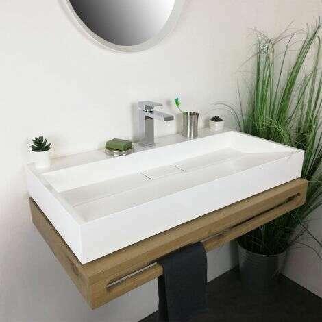 Vasque à poser rectangulaire 90 cm en Pierre de synthèse - Amelya