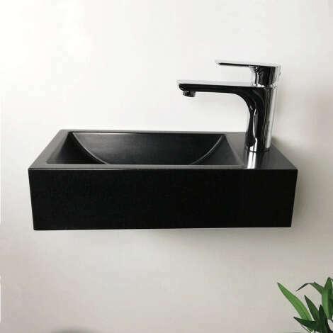 Lave-mains suspendu 40 cm Noir en Pierre de synthèse - Telma D