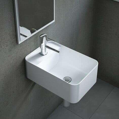 Lave-mains suspendu 40 cm en Solid surface - Falco