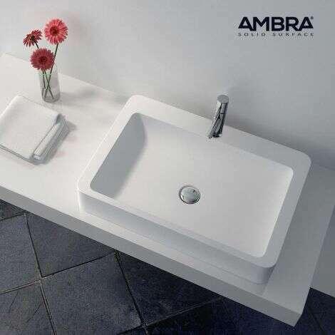 Vasque à poser rectangulaire 60 cm en Solid surface - Tanaho