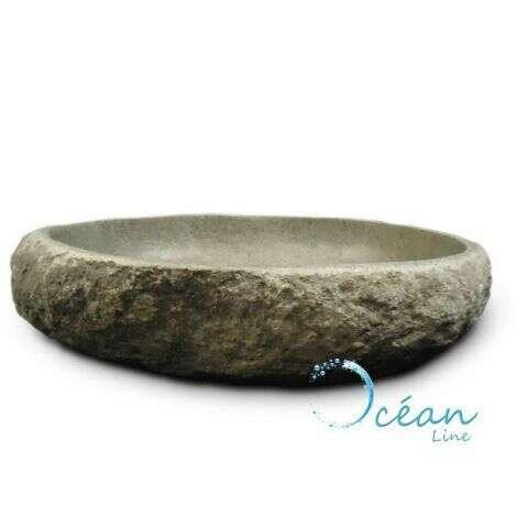 Vasque à poser en pierre de rivière 60 cm, Galéo