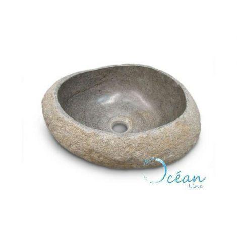 Vasque à poser, lave-main en pierre de rivière 25 cm