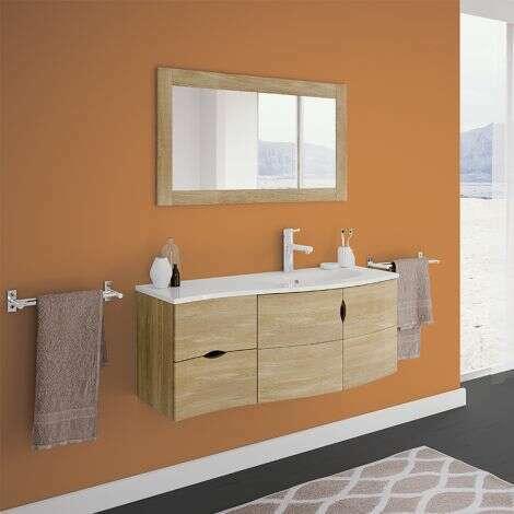 Meuble salle de bain 110 cm Vago avec plan vasque à droite