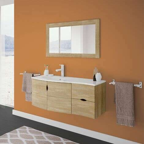 Meuble salle de bain 110 cm Vago avec plan vasque à gauche