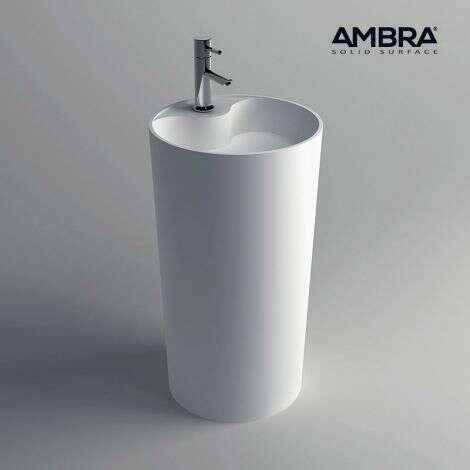 Colonne lavabo en composite blanc