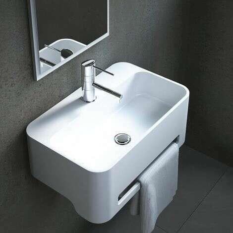 Lave-mains suspendu rectangulaire 50 cm en Solid surface - Flavio