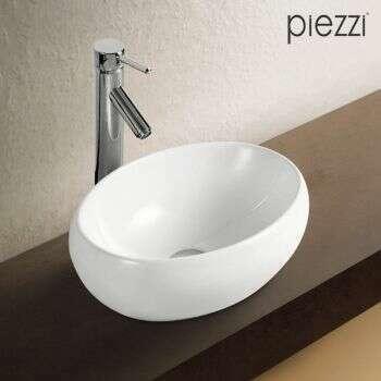 Vasque ovale en céramique blanche 42 cm - Carina