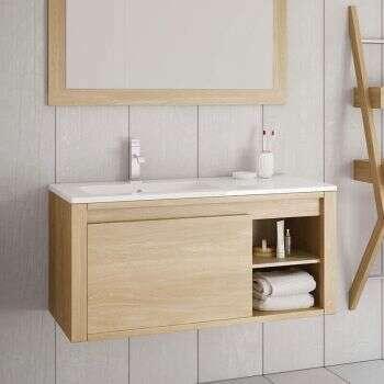 Meuble suspendu Olo 100 cm en chêne naturel, 1 tiroir, 1 niche et son plan vasque à gauche