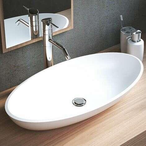 Vasque à poser ovale 60 cm en Solid Surface - Emilia