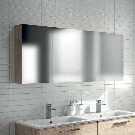 Armoire de toilette double suspendue 130 cm en chêne clair - Beop