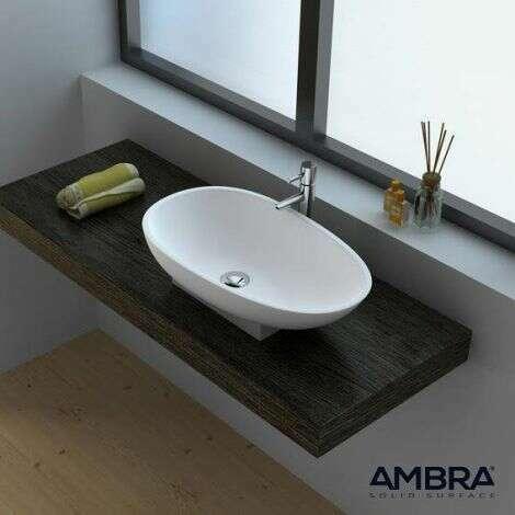 Vasque à poser ovale 60x35 cm en Solid surface - Calista