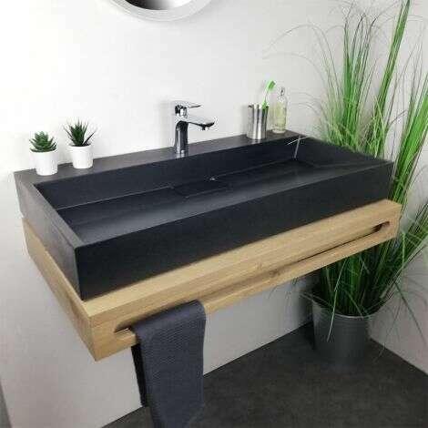 Vasque à poser noire rectangulaire 90 cm en Pierre de synthèse - Amelya
