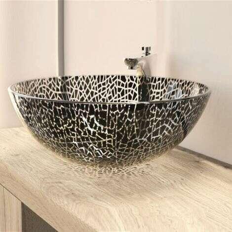 Vasque à poser ronde 42 cm en Verre façon vitrail - Bata